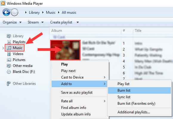 Add album to burn list in Windows Media Player
