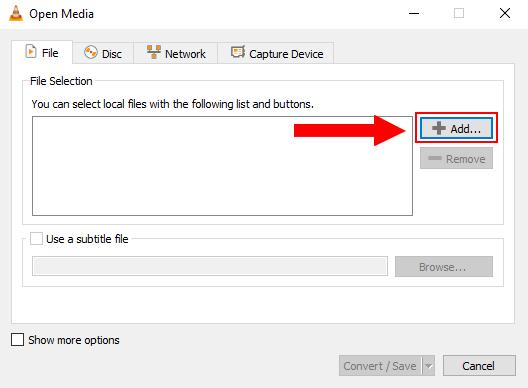 Add button in Open Media window in VLC media player