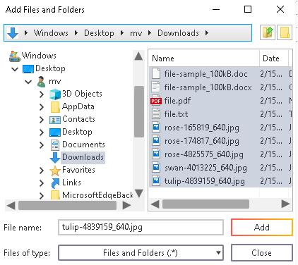 Add files or folders to burn list in Ashampoo Burning Studio