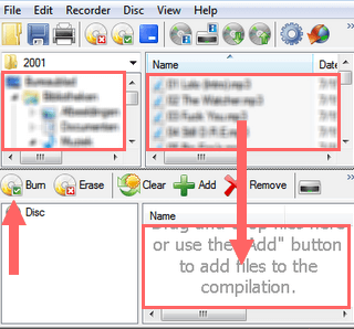 add files or folders to disc in cdburnerxp