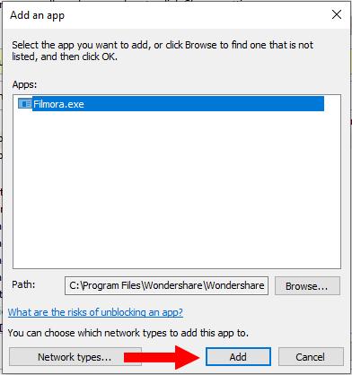 Add Filmora to Windows Firewall exceptions