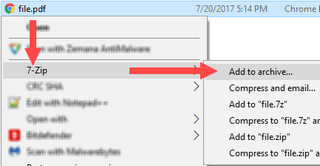 add pdf file to archive in 7-zip