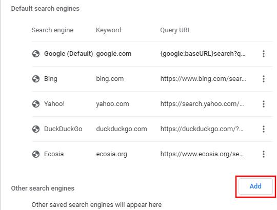 Add search engine button in Google Chrome