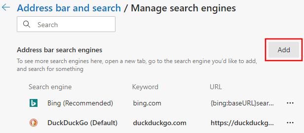 Add search engine button in Microsoft Edge