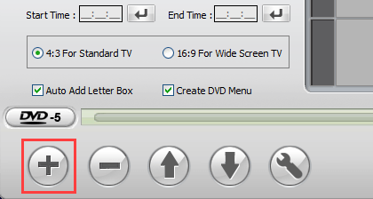 Add video button in WinX DVD Author