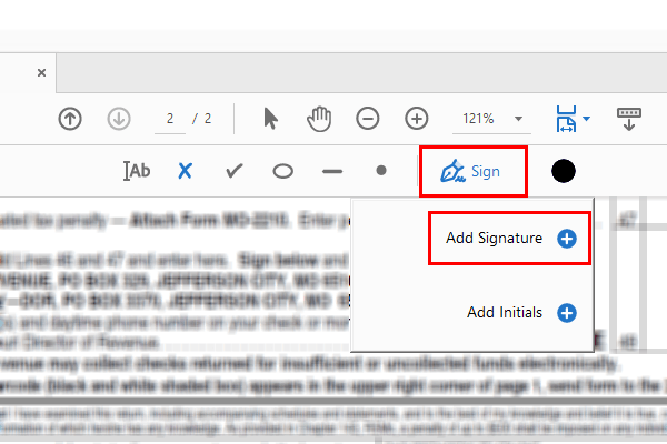 Adobe Acrobat Reader DC Sign button