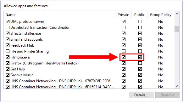 Allow Filmora through Windows Firewall