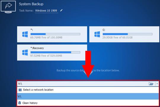 AOMEI Backupper drive selection menu
