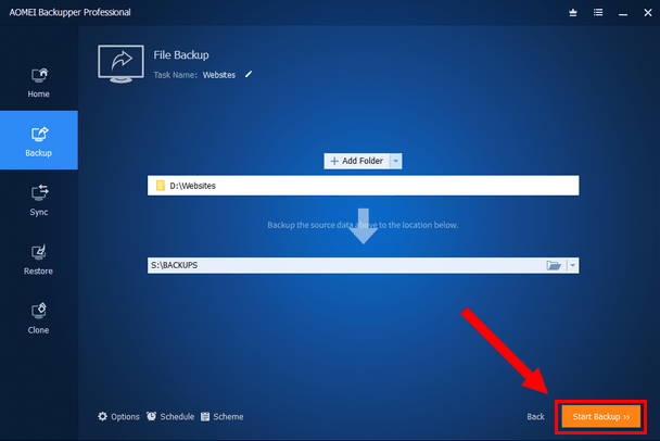 AOMEI Backupper Start Backup button