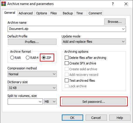 Archive format and Set password button in WinRAR