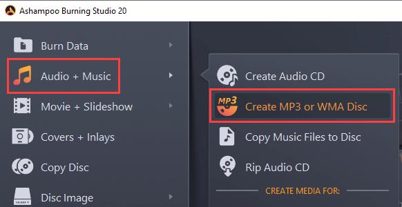Ashampoo Burning Studio Create Mp3 or WMA Disc mode