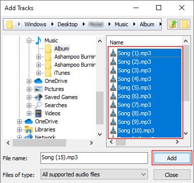Ashampoo Burning Studio Free Add Tracks window