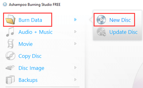 Ashampoo Burning Studio Free Burn Data mode