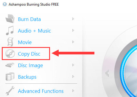 Ashampoo Burning Studio Free Copy Disc option