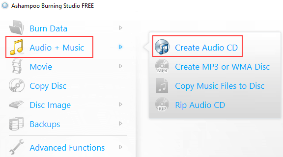 Ashampoo Burning Studio Free Create Audio CD mode