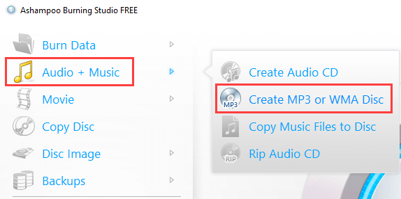 Ashampoo Burning Studio Free Create Mp3 or WMA Disc mode