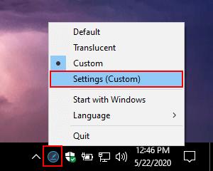 Ashampoo Taskbar Customizer custom settings