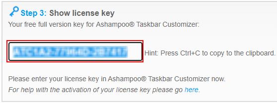 Ashampoo Taskbar Customizer license key