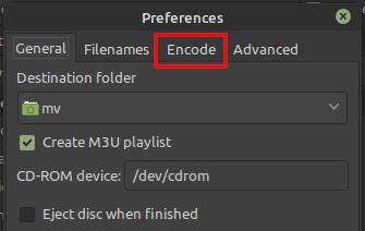 Asunder Encode tab