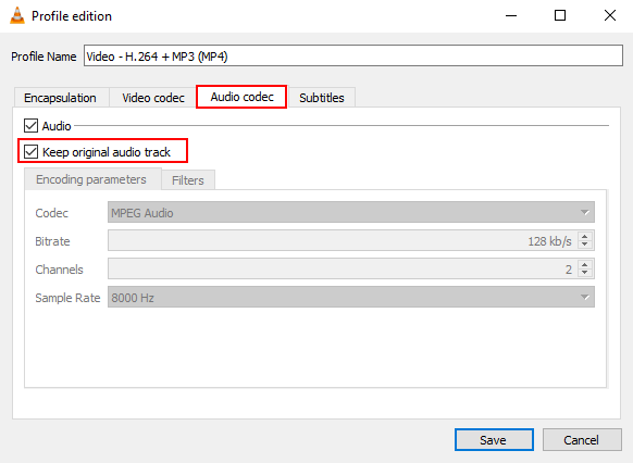 Audio codec settings in VLC media player