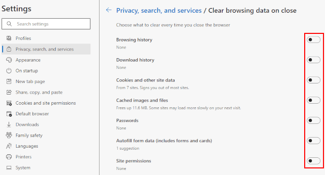 Automatically delete browsing data in Microsoft Edge