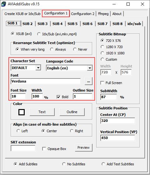 AVIAddXSubs configuration