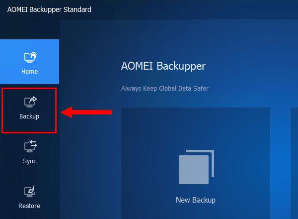 Backup button in AOMEI Backupper