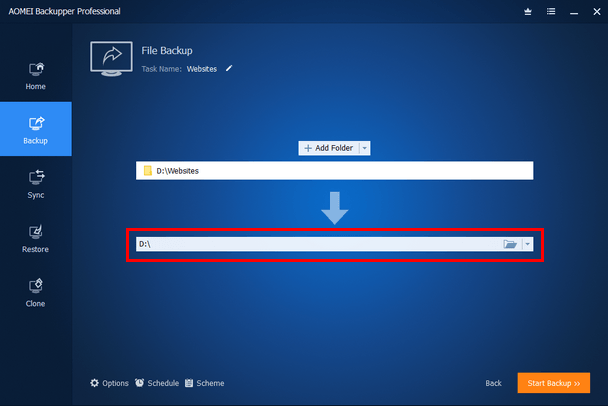 Backup location selection button in AOMEI Backupper
