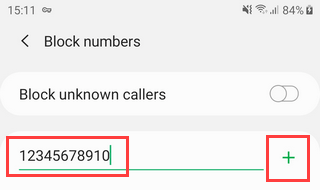 Block a phone number on Samsung Galaxy Android 9 by entering it manually