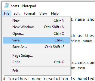 Block a website in Windows 10 using the host file