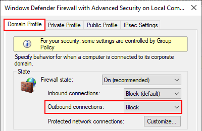 Block outbound connections with firewall in Windows 10 Domain Profile