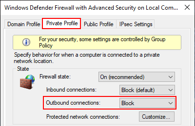Block outbound connections with firewall in Windows 10 Private Profile