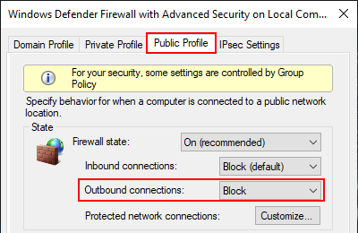 Block outbound connections with firewall in Windows 10 Public Profile
