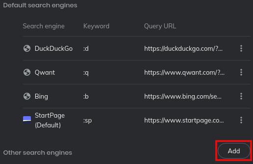 Brave add search engine button
