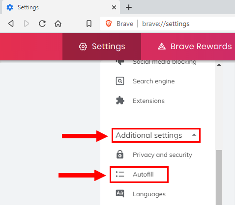 Brave additional settings autofill