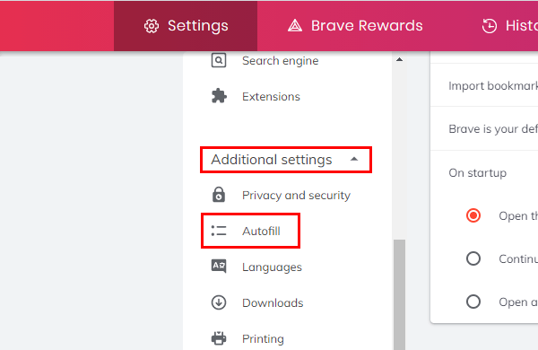 Brave browser additional settings and autofill settings