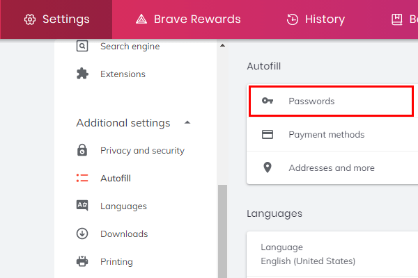 Brave browser passwords