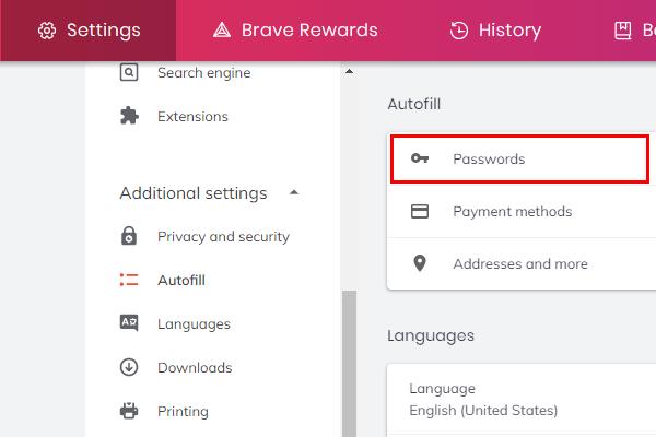Brave browser passwords
