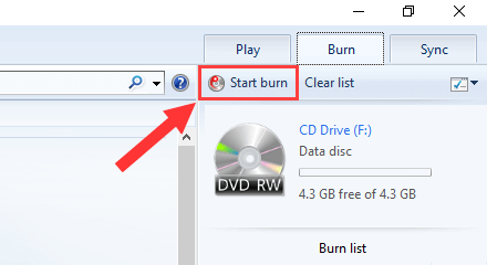 Burn a CD or DVD in Windows 10 using Windows Media Player