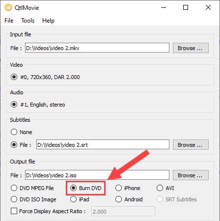 Burn DVD option in QtlMovie