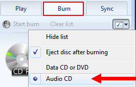 burn mp3 music to audio cd using windows media player