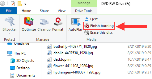Burn pictures to CD or DVD in Windows 7, 8 and 10
