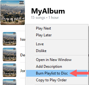 burn playlist to disc in itunes