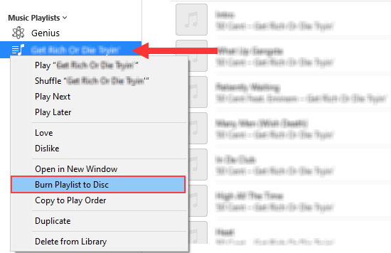 Burn Playlist to Disc option in iTunes