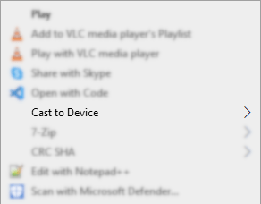 Cast to Device in the context menu in Windows 10 File Explorer