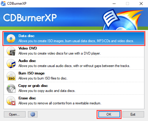 CDBurnerXP Data disc mode