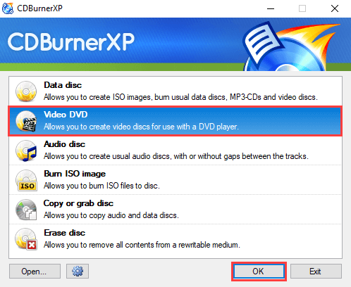 CDBurnerXP Video DVD mode