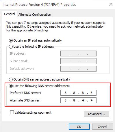 Change DNS in Windows 10