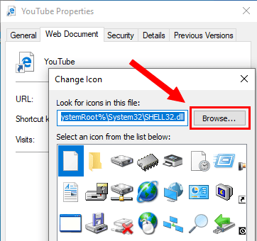 Change Icon Browse button