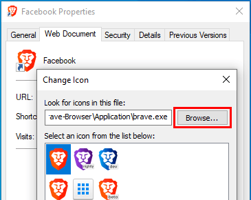 Change Icon window Browse button
